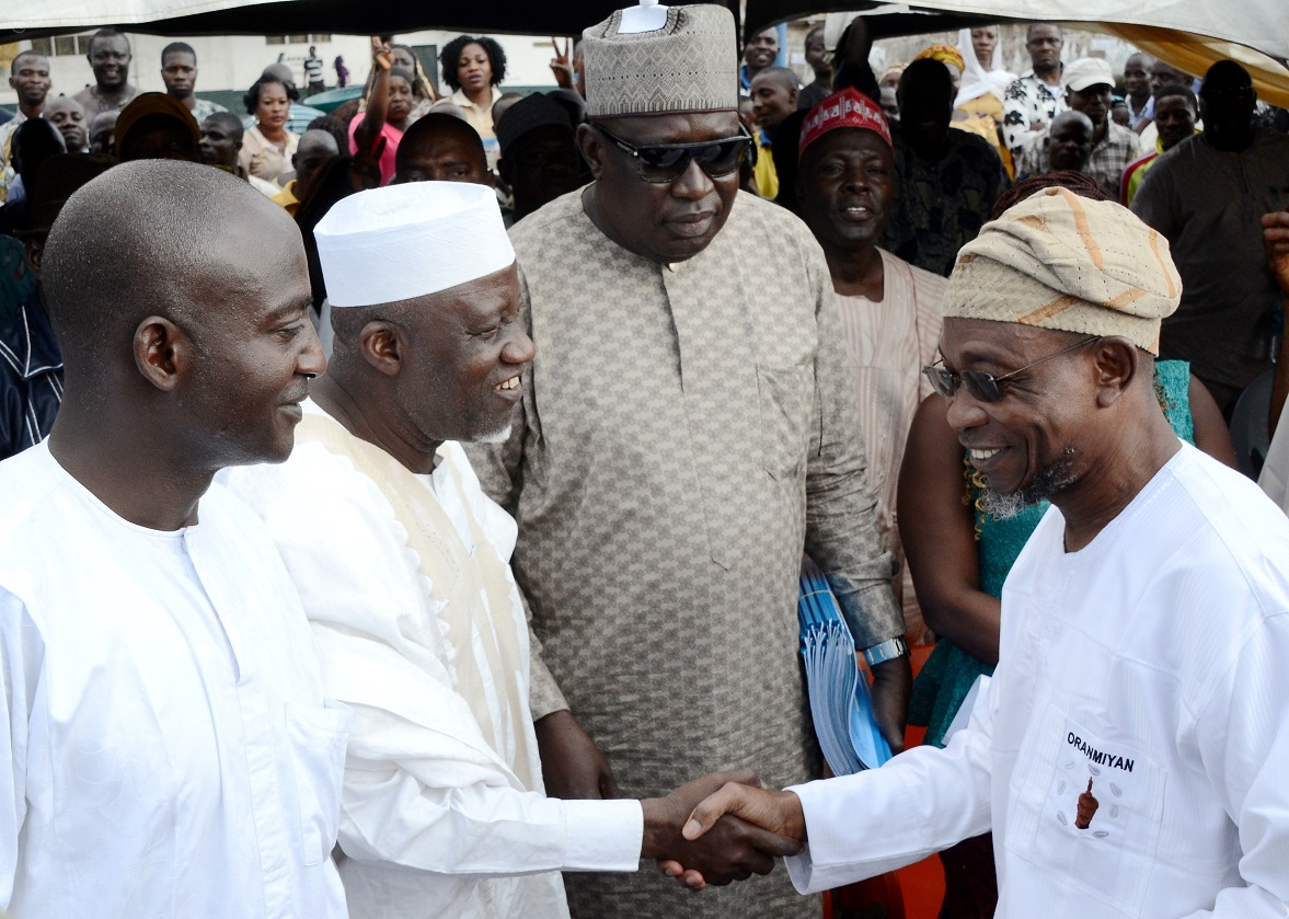 From Right, Governor State of Osun, Ogbeni Rauf Aregbesola; Secretary, Osun National/State Assembly Primaries Committee, Mustapha Maoshood; Chairman of the Committee, Muhammad Maigari and a member, Sada Machika, during primaries/declaration of the party's flagbearers to the National/State Assemblies, at Nelson Mandela Freedom Park, Osogbo, State of Osun on Tuesday 09-12-2014