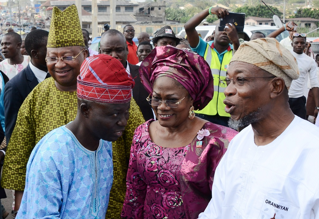 From Right, Governor State of Osun, Ogbeni Rauf Aregbesola; his Deputy, Mrs Titi Laoye-Tomori; Secretary, All Progressives Congress (APC), Osun Chapter, Rasaq Salensile and a Senatorial Aspirant, Isiaka Adeleke, during primaries/declaration of the party's flagbearers to the National/State Assemblies, at Nelson Mandela Freedom Park, Osogbo, State of Osun on Tuesday 09-12-2014