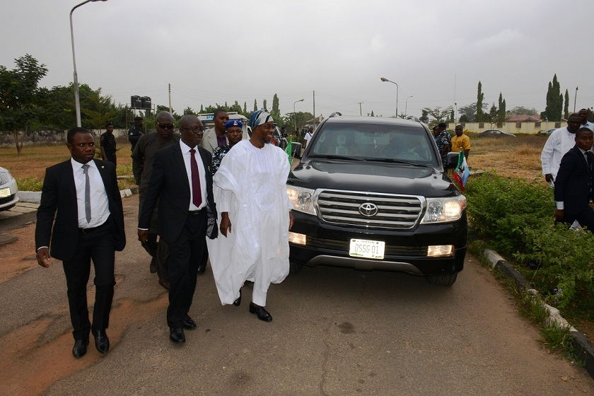 Governor, State of Osun, Ogbeni Rauf Aregbesola, during arrival on his appearance at the sitting of Election Petition Tribunal, at the State High Court on Friday 19-12-2014