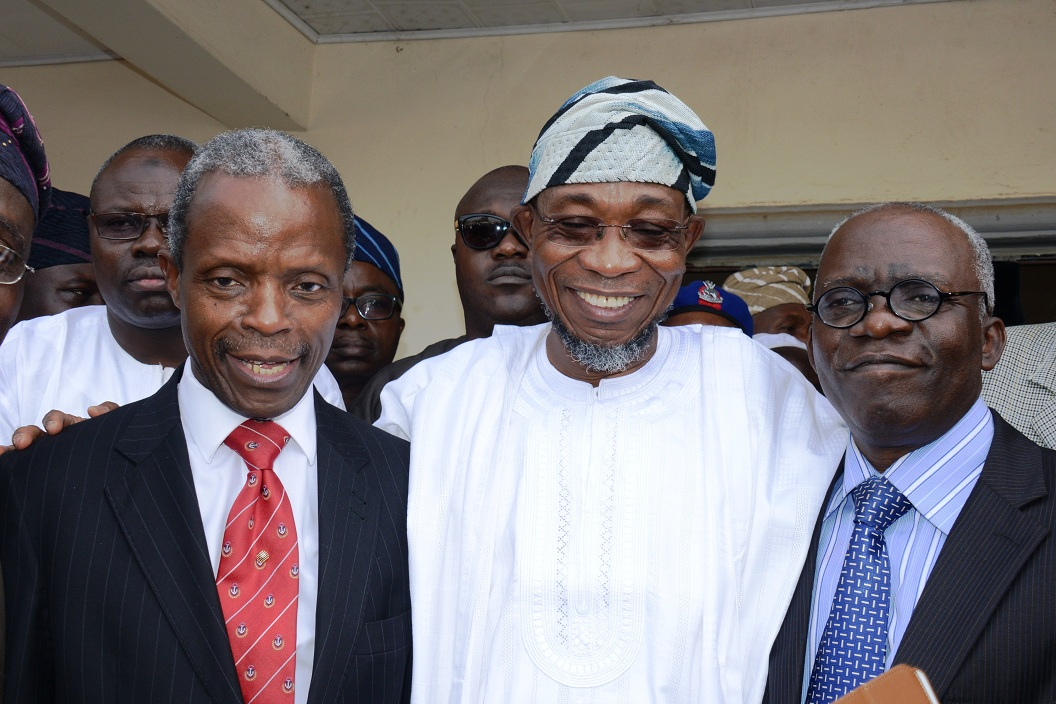 From left, Running mate of Gen Muhammadu Buhari, Presidential candidate of All Progressive Congress (APC), Prof. Yemi Osinbajo; Governor Rauf Aregbesola of Osum and Mr. Femi Falana (SAN), at the end of the sitting of Election Petition Tribunal at State High Court in Osogbo on Friday 19-12-2014