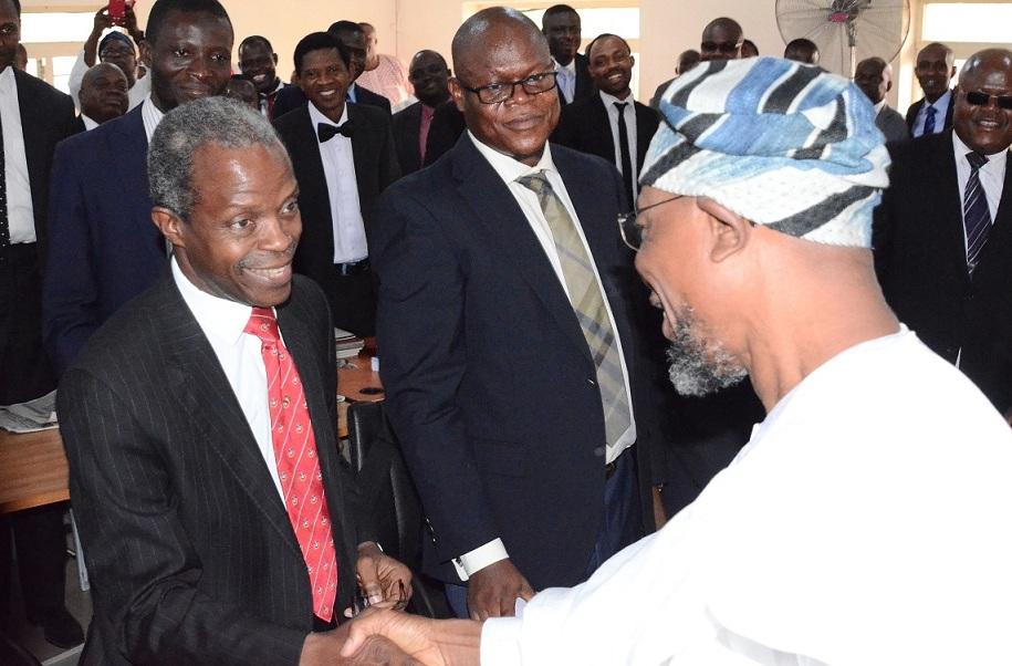Vice Pesidential Candidate of APC, Prof. Yemi Osinbajo, Mr Bashiru Ajibola, Govrrmor Rauf Aregbesola of Osun (right) and others, at the the sitting of Election Petition Tribunal at the State High Court, Osogbo on Friday 19-12-2014