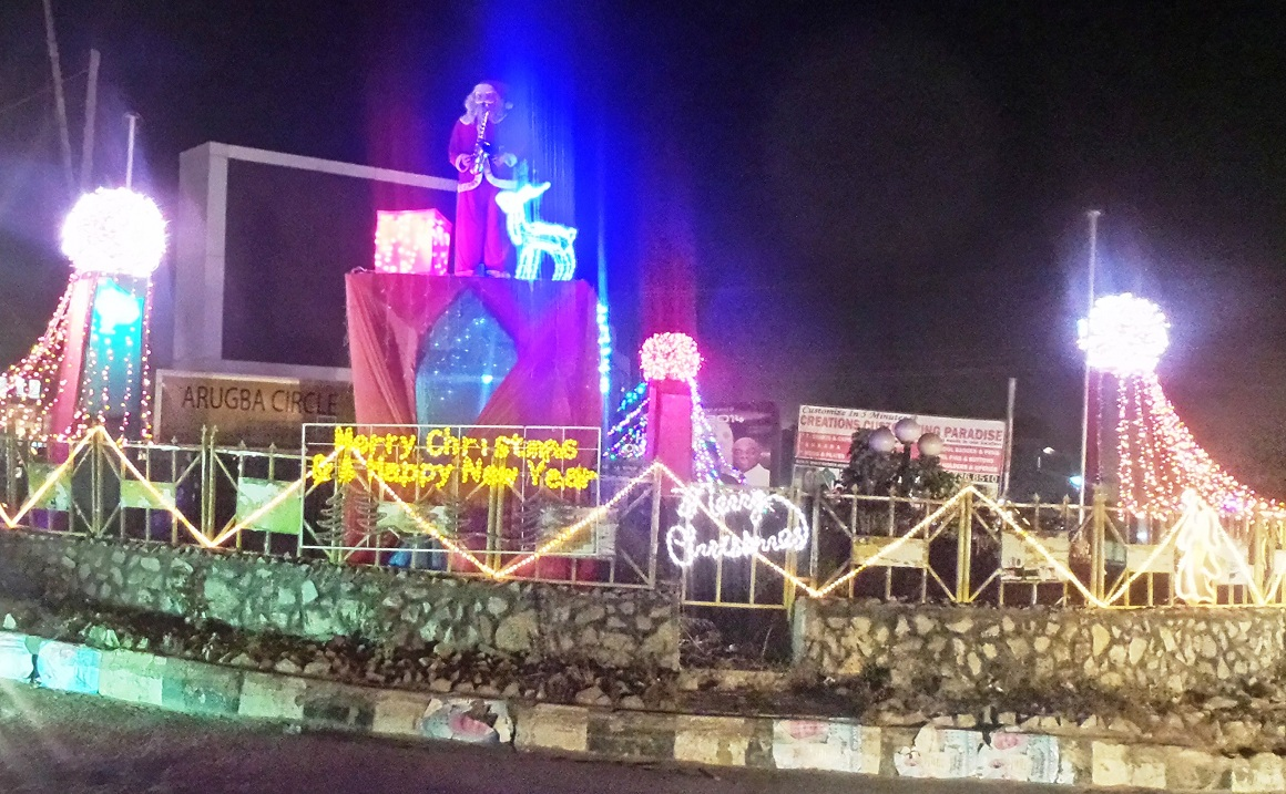 Shows Okefia, one of the streets in Osogbo being decorated with christmas light by the State Government of Osun in celebtration of the end of year 2014 and to welcome year 2015 on Wednesday 24-12-2014