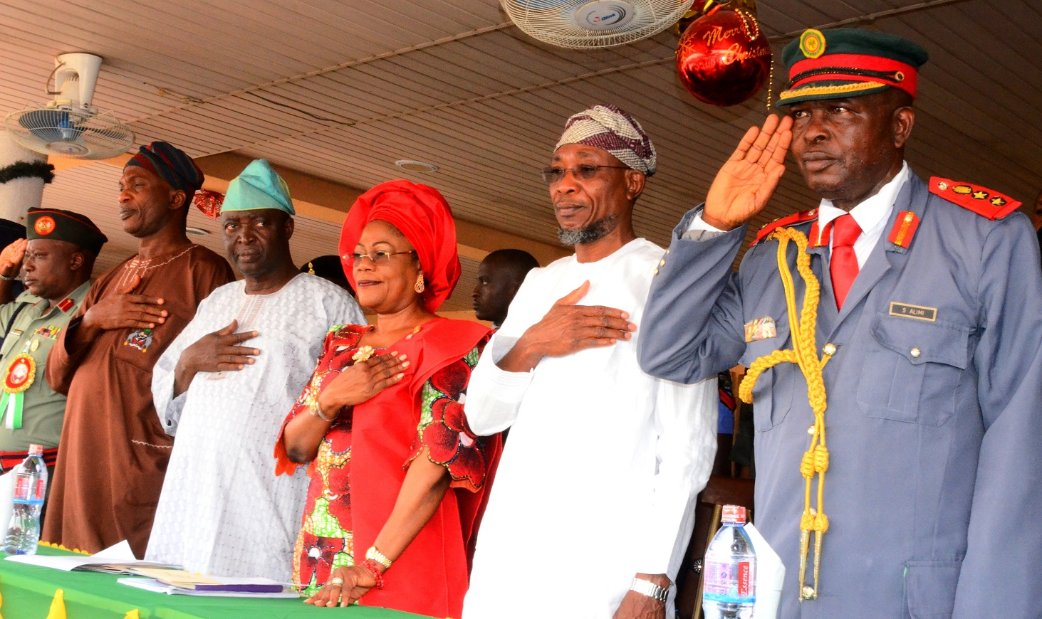 From right- Chairman of Legion, Col. Alimi Samotu, Governor State of Osun, Ogbeni Rauf Aregbesola, Deputy Governor, Mrs. Titi Laoye-Tomori, Senator Bayo Salami, Secretary to the State Government, Alhaji Moshood Adeoti and Commandant Engineering Construction Company Ede, Brigadier General, AG Adeyemi Gbenga, during the Launching of 2015 Emblem of the Armed Forces Remembrance Day Celebration at Government House Osogbo, State of Osun, on Tuesday 6/01/2015.