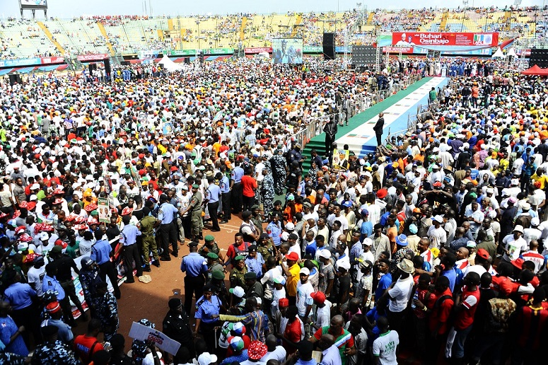 APC Presidential Candidate Gen Muhammadu Buhari Governor state of Osun,Ogbeni Rauf Aregbesola And Governor of Edo State, Comrade Adams Oshiomhole Addressing the crowd during the Lagos state APC Presidential Candidate, Gen Muhammadu Buhari Rally at Teslim Balogun Stadium Lagos, on Friday 30-1-2015.