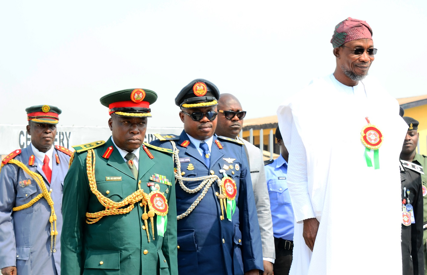 From right, Governor State of Osun, Ogbeni Rauf Aregbesola; Commandant, Nigerian Air Force Institute of Safety, Ipetu-Ijesa, Air Commodore Oyewole Jackson; Commander, Engineer Construction Company, (ECC) Ede, Brigadier General Gbenga Adeyemi and Chairman Nigerian Legion, State of Osun, Colonel Alimi Samotu, during 2015 Armed forces Remembrance Day Celebration in Osogbo, State of Osun on Thursday 15-01-2015