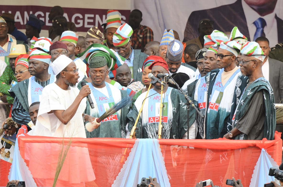 From left, Former Governor State of Osun, Prince Olagunsoye Oyinlola; Governor Rauf Aregbesola; Deputy Chairman, All Progressives Congress (APC) South, Engineer Segun Oni; Former APC Chairman, Chief Bisi Akande; APC Presidential Candidate, General Muhammadu Buhari; APC National Chairman, Chief John Oyegun and others, at the presidential campaign rally of the All Progressive Congress (APC), at the Osogbo City Stadium on Wednesday 15-01-2015