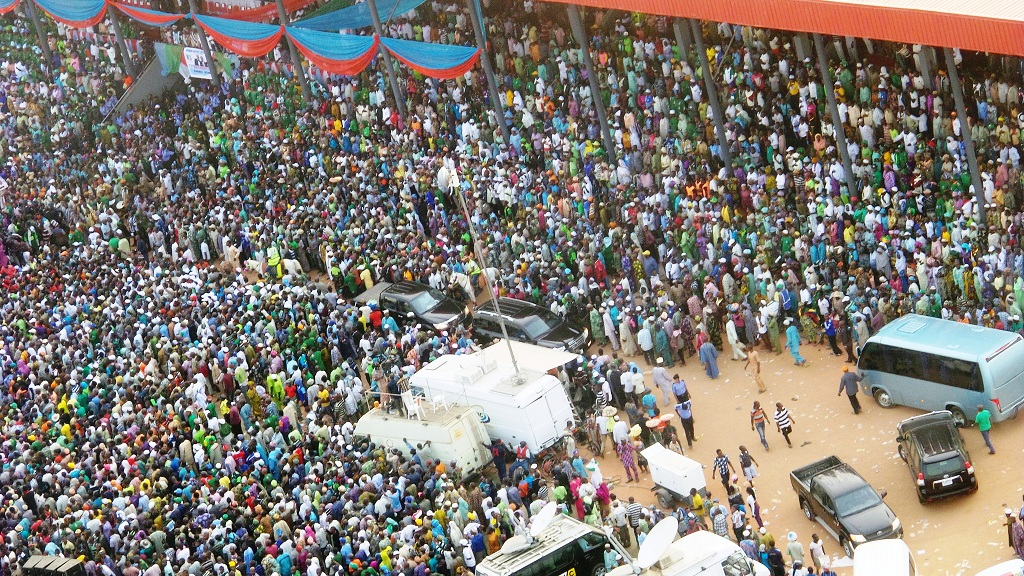 Mammoth crowd at the presidential campaign rally of the All Progressive Congress (APC), at the Osogbo City Stadium on Wednesday 15-01-2015