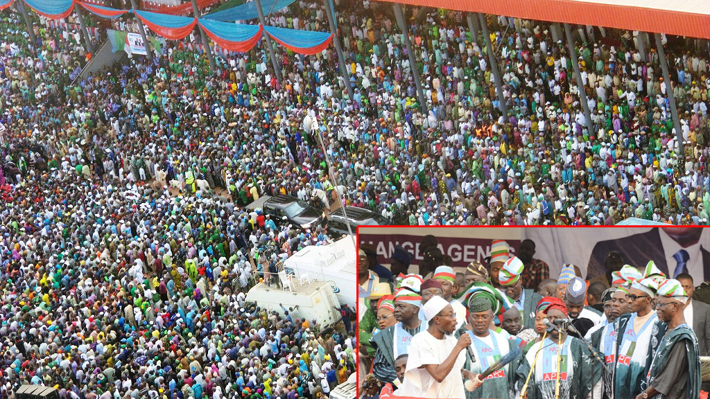 Mammoth crowd at the presidential campaign rally of the All Progressive Congress (APC), at the Osogbo City Stadium. Insert, From left, Former Governor State of Osun, Prince Olagunsoye Oyinlola; Governor Rauf Aregbesola; Deputy Chairman, All Progressives Congress (APC) South, Engineer Segun Oni; Former APC Chairman, Chief Bisi Akande; APC Presidential Candidate, General Muhammadu Buhari; APC National Chairman, Chief John Oyegun and others.