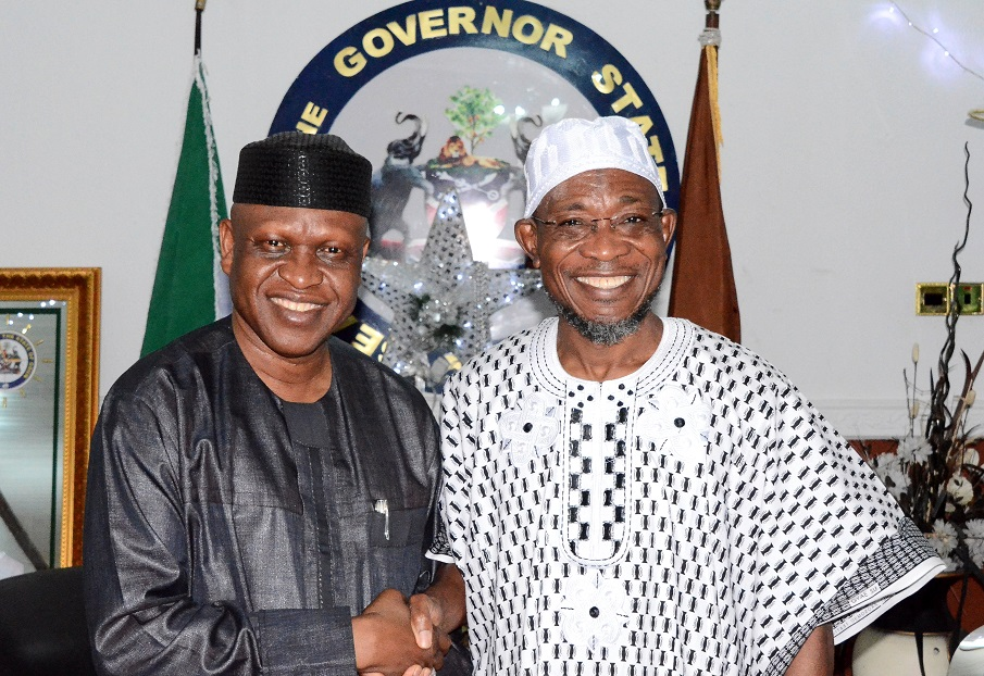 Governor State of Osun, Ogbeni Rauf Aregbesola (right) with All Progressives Congress (APC) Governorship Candidate in Delta State, Olorogun Otega Emerhor, during a recent courtesy call on the Governor in Government House, Osogbo, State of Osun