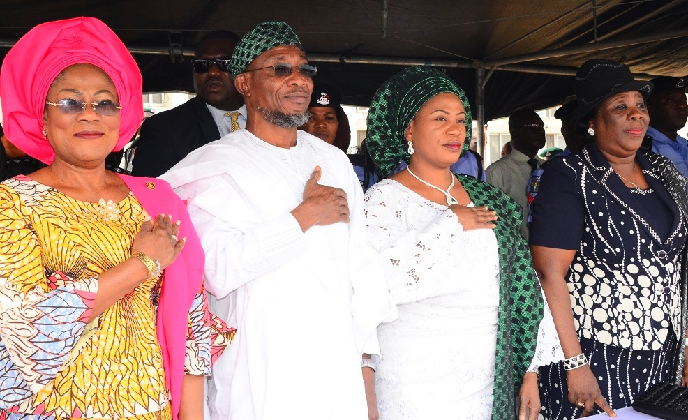 From left- Deputy Governor, State of Osun, Mrs. Titi Laoye- Tomori; Governor of the State of Osun, Ogbeni Rauf Aregbesola; his wife, Mrs. Sherifat Aregbesola and Chief Judge of Osun State, Justice Adepele Ojo during the Inter-religious Service for the New Year 2015 at Office of the Governor, State