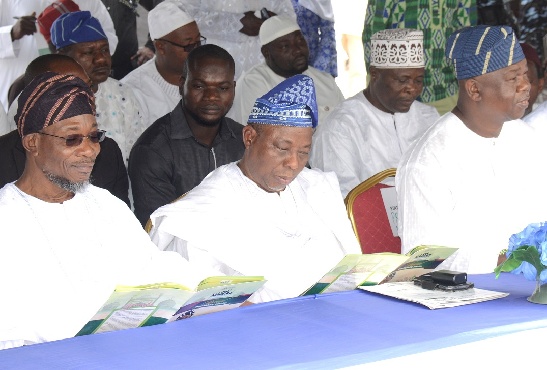 From left, Governor State of Osun, Ogbeni Rauf Aregbesola; Hon. Muhammed Ibraheem,  representing speaker of the State House of Assembly; National Chairman, Board of Trustees of Nasrul-Lahi-Fatih Society of Nigeria (NASFAT), Alh. Lateef Oladosu and President NASFAT Worldwide, Engr Kamil Abayomi, during NASFAT Special Thanksgiving Service on Osun Governor's victory, at Mandela Freedom Park, Osogbo on Sunday 11-01-2015