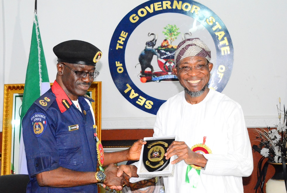 Pictures of the Governor State of Osun, Ogbeni Rauf Aregbesola,  his Deputy, Mrs Titi Laoye-Tomori and Commandant, Nigeria Security and Civil Defence Corps (NSCDC), Osun Command, Commandant Balogun Tajudeen, during the Commandant's Courtesy Visit to the Governor at Government House, Osogbo, State of Osun