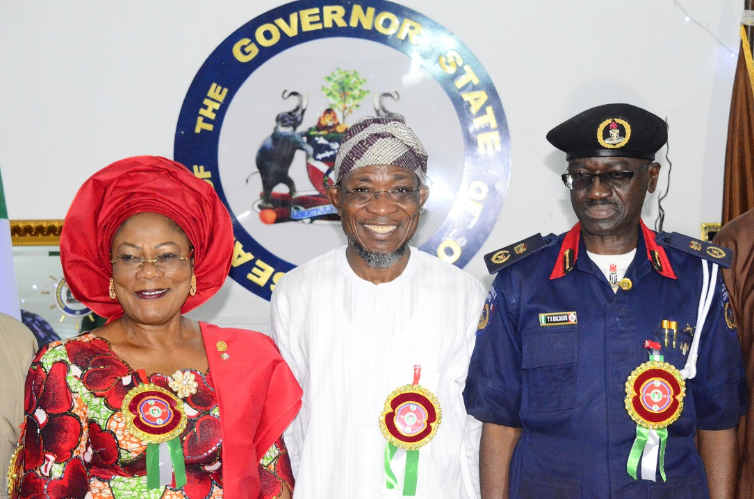 Governor State of Osun, Ogbeni Rauf Aregbesola (centre); his Deputy, Mrs Titi Laoye-Tomori (left) and Commandant, Nigeria Security and Civil Defense Corps (NSCDC), Osun Command, Commandant Balogun Tajudeen, during the Commandant's Courtesy Visit to the Governor at Government House, Osogbo, State of Osun
