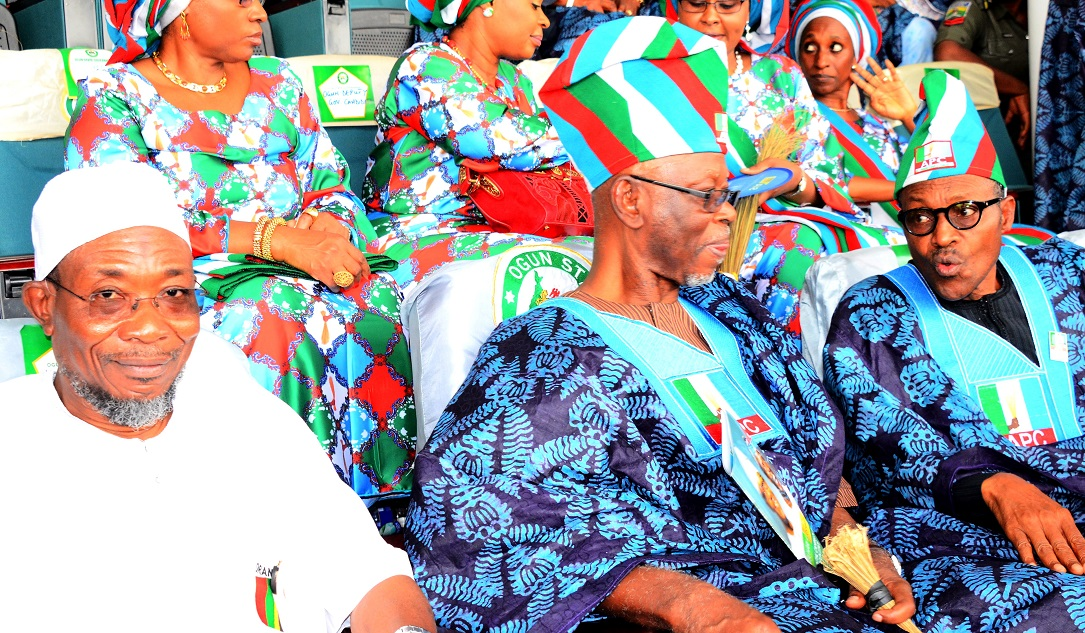 *From left - *Governor State of Osun, Ogbeni Rauf Aregbesola; National Chairman, All Progressive Congress (APC),Chief John Odigie – Oyegun and All Progressive Congress (APC),Presidential Candidate, General Muhammadu Buhari during the Presidential Campaign Rally in Ogun State at MKO Abiola International Stadium Abeokuta, Ogun State on Tuesday 13/01/2015.