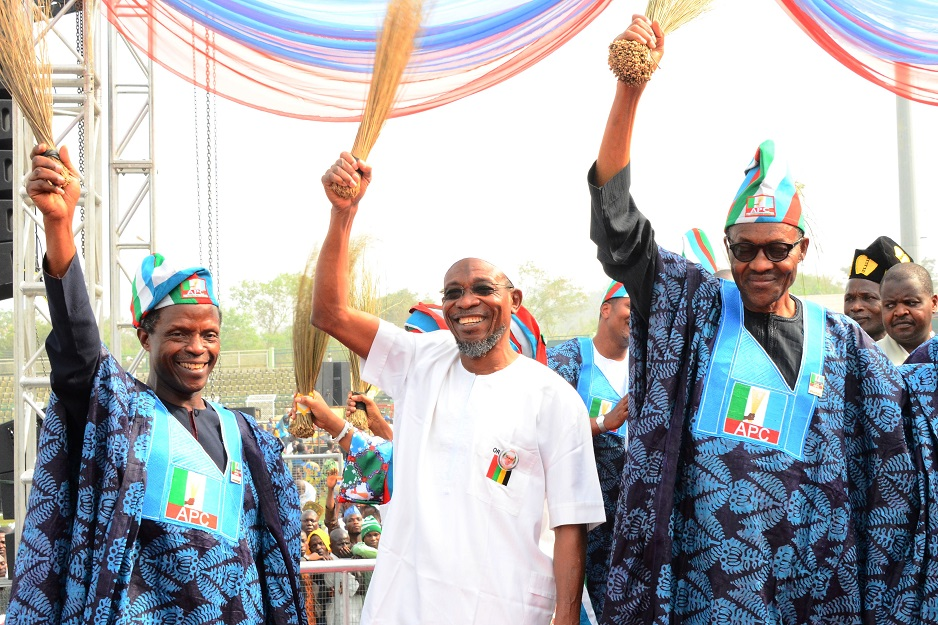 *From left –* Vice Presidential Candidate, All Progressive Congress (APC), Prof. Yemi Osinbajo, Governor State of Osun, Ogbeni Rauf Aregbesola and All Progressive Congress (APC),Presidential Candidate, General Muhammadu Buhari during the Presidential Campaign Rally in Ogun State at MKO Abiola International Stadium Abeokuta, Ogun State on Tuesday 13/01/2015.