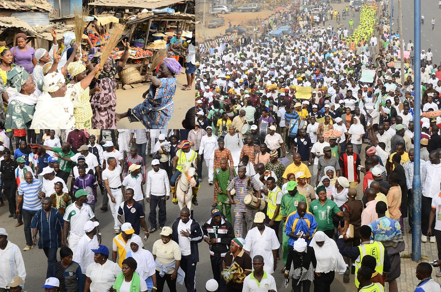 Mammoth Crowd during a Walk For Change Exercise to mobilize support for Buhari/Osinbajo Presidency in Osogbo, State of Osun. Insert, Market Women at Oluode, on Wednesday 07-01-2015