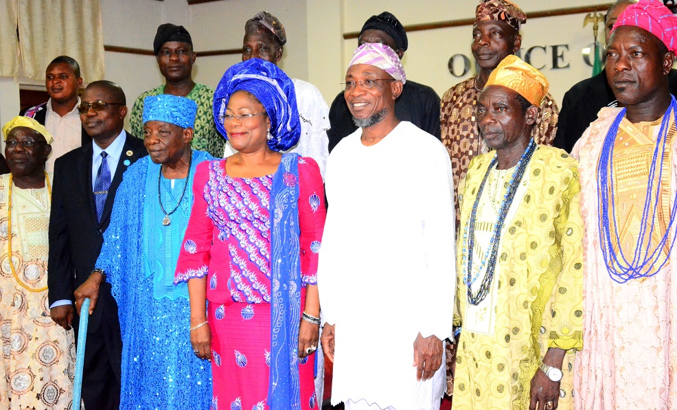 Governor State of Osun, Ogbeni Rauf Aregbesola (3rd right); his Deputy, Mrs. Titi-Laoye Tomori (middle); Apetumodu of Ipetumodu, Oba James Adedokun Adegoke (3rd left); Head of Service, State of Osun, Mr. Sunday Owoeye (2nd left); Asalu of Ipetumodu, Chief Afolabi Adedeji (left); Asalu of Asipa, Chief Oyediran Julius (2nd right); Baale Fadekimi of Asipa, Alhaji  Kamorudeen Fagbemi (right) and others, during the Land Dispute Reconciliatory Meeting at the Governor's Office, Government Secretariat, Abere, Osogbo on Monday 19/15/2015.