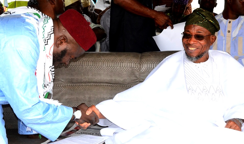 Governor of the State of Osun, Ogbeni Rauf Aregbesola and National President Jama'atu Ta'awunil Muslimeen, Sheikh Daood Imran Molasan during the 16th Annual National  Conference of Jama'atu Ta'awunil Muslimeen at District Council Elementary School, Araromi , Iwo, State of Osun recently