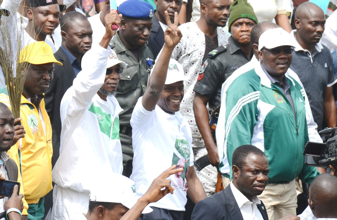From right, Speaker Osun House of Assembly, Hon. Najeem Salam; Vice Presidential candidate of APC, Prof. Yemi Osinbajo; Osun Governor Rauf Aregbesola; State of Osun coordinator,Campaign for Buhari presidency, Hon. Bola Ilori and others, during a Walk for Change Exercise to mobilize support for Buhari/Osibajo Presidency in Akure, Ondo State on Friday 10-01-2015.