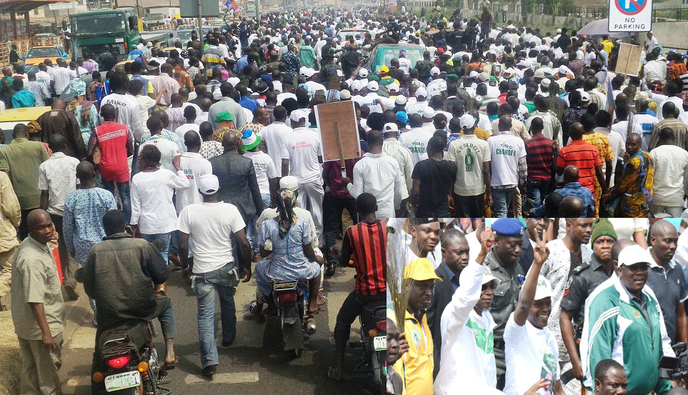 Cross section of APC supporters. Inset:Speaker Osun House of Assembly, Hon. Najeem Salam; Vice Presidential candidate of APC, Prof. Yemi Osinbajo; Osun Governor Rauf Aregbesola; State of Osun coordinator,Campaign for Buhari presidency, Hon. Bola Ilori, during a Walk for Change Exercise to mobilize support for Buhari/Osibajo Presidency in Akure, Ondo State on Friday 10-01-2015.