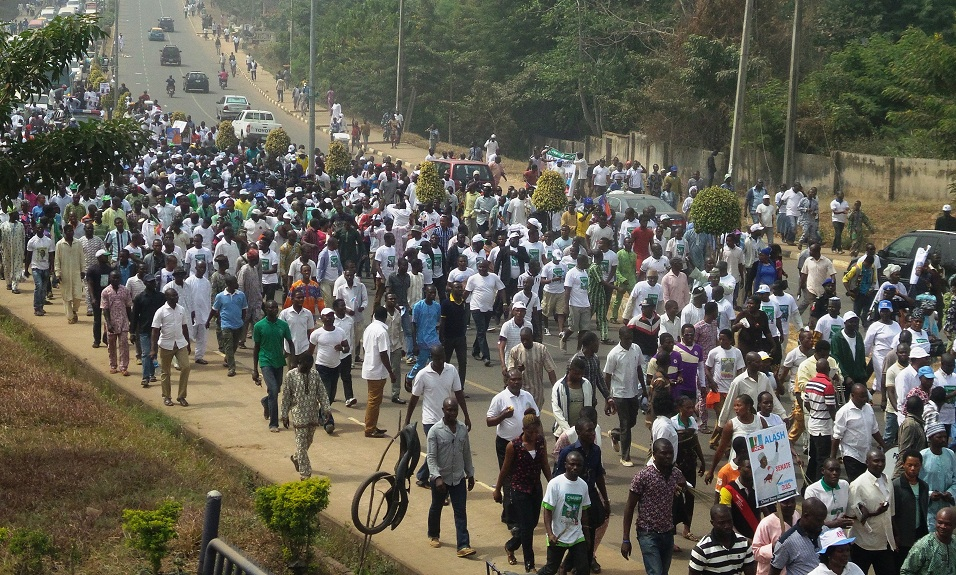 Cross section of APC supporters, during a Walk for Change Exercise to mobilize support for Buhari/Osibajo Presidency in Akure, Ondo State on Friday 10-01-2015.