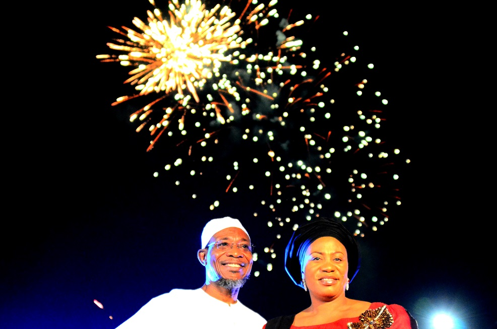 Governor State of Osun, Ogbeni Rauf Aregbesola and his wife, Sherifat, join people of the State celebrating 2015 with fire works at the Freedom Park, Osogbo, State of Osun on Thursday 01-01-2015