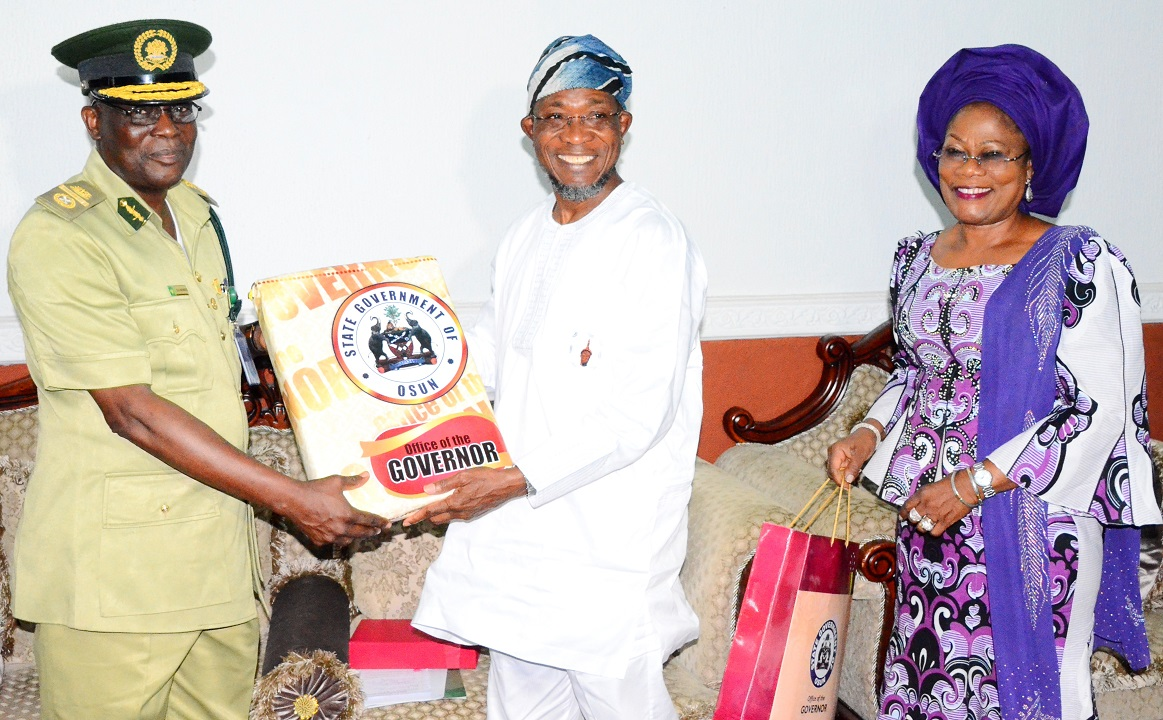 From right, Deputy Governor State of Osun, Mrs Titi Laoye-Tomori; Governor Rauf Aregbesola and Assistant Controller General of Prisons (ACG) Zonal Coordinator, Zone 'F', Ibadan, Mr Emmanuel Ogundele, during a Courtesy call on the Governor at Government house, Osogbo, State of Osun on Thursday 12-02-2015