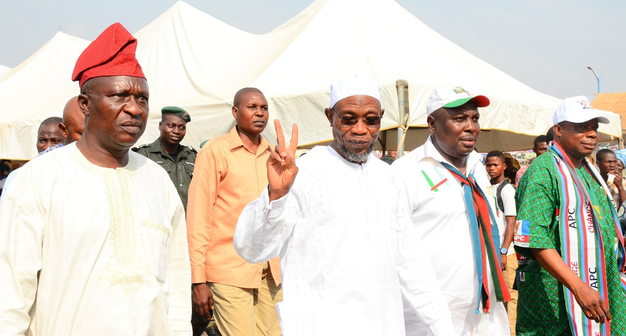 Governor, State of Osun, Ogbeni Rauf Aregbesola (2nd left); Former Commissioner for Justice, Barrister Wale Afolabi (left); Former Commissioner for Information and Strategy, Hon. Sunday Akere and Former Special Adviser to the Governor on Sports, Youths and Special Needs, Hon. Biyi Odunlade during an Inter-Religious Prayers Service on the Victory of the All Progressives Congress (APC) Presidential Candidate, General Muhammadu Buhari in the March 28th Presidential Election, at Nelson Mandela Freedom Park, Osogbo, on Saturday 14/02/2015.