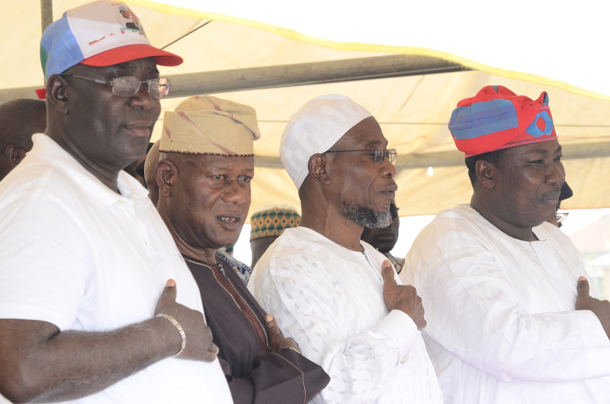 From right- Speaker, State of Osun House of Assembly, Hon. Najeem Salam; Governor, State of Osun, Ogbeni Rauf Aregbesola; Chairman, Lagos State Mandate Group, Alhaji Abdul- Ganiy Abayomi Badmus and Senator Representing Osun West Senatorial District, Senator Mudasiru Hussain during an Inter-Religious Prayers Service on the Victory of the All Progressives Congress (APC) Presidential Candidate, General Muhammadu Buhari in the March 28th Presidential Election, at Nelson Mandela Freedom Park, Osogbo, on Saturday 14/02/2015.