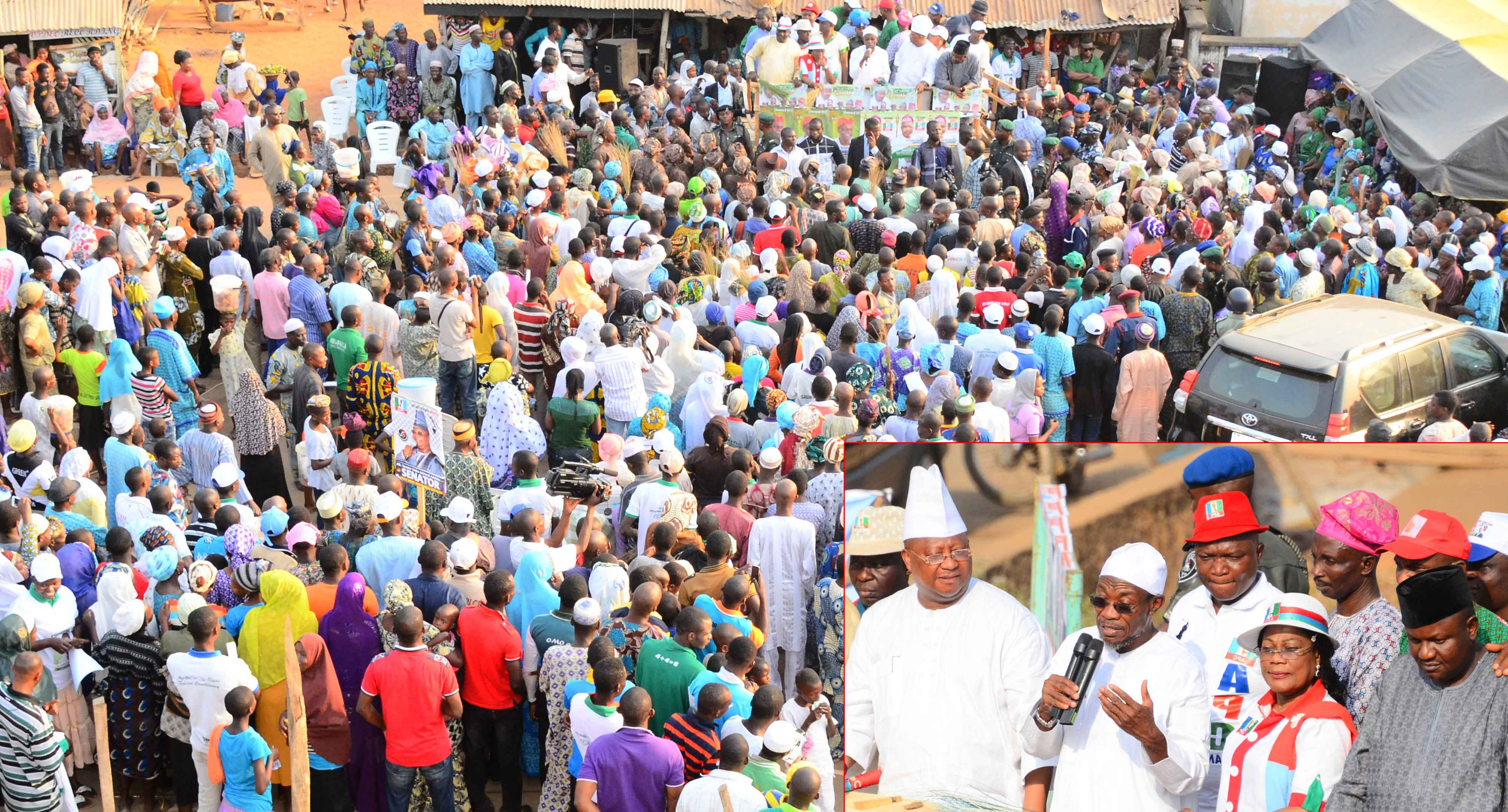 State of Osun Supporters of All Progressives Congress (APC) at a Campaign Rally for General Muhammadu Buhari and National Assembly aspirants in Osun West Senatorial District at Ile-Ogbo. Insert: From left, Senatorial Aspirant, Osun West Senatorial District, Senator Isiaka Adeleke; Governor Rauf Aregbesola; his Deputy, Mrs Titi Laoye-Tomori; APC State Chairman, Prince Gboyega Famodun and others, during the weekend