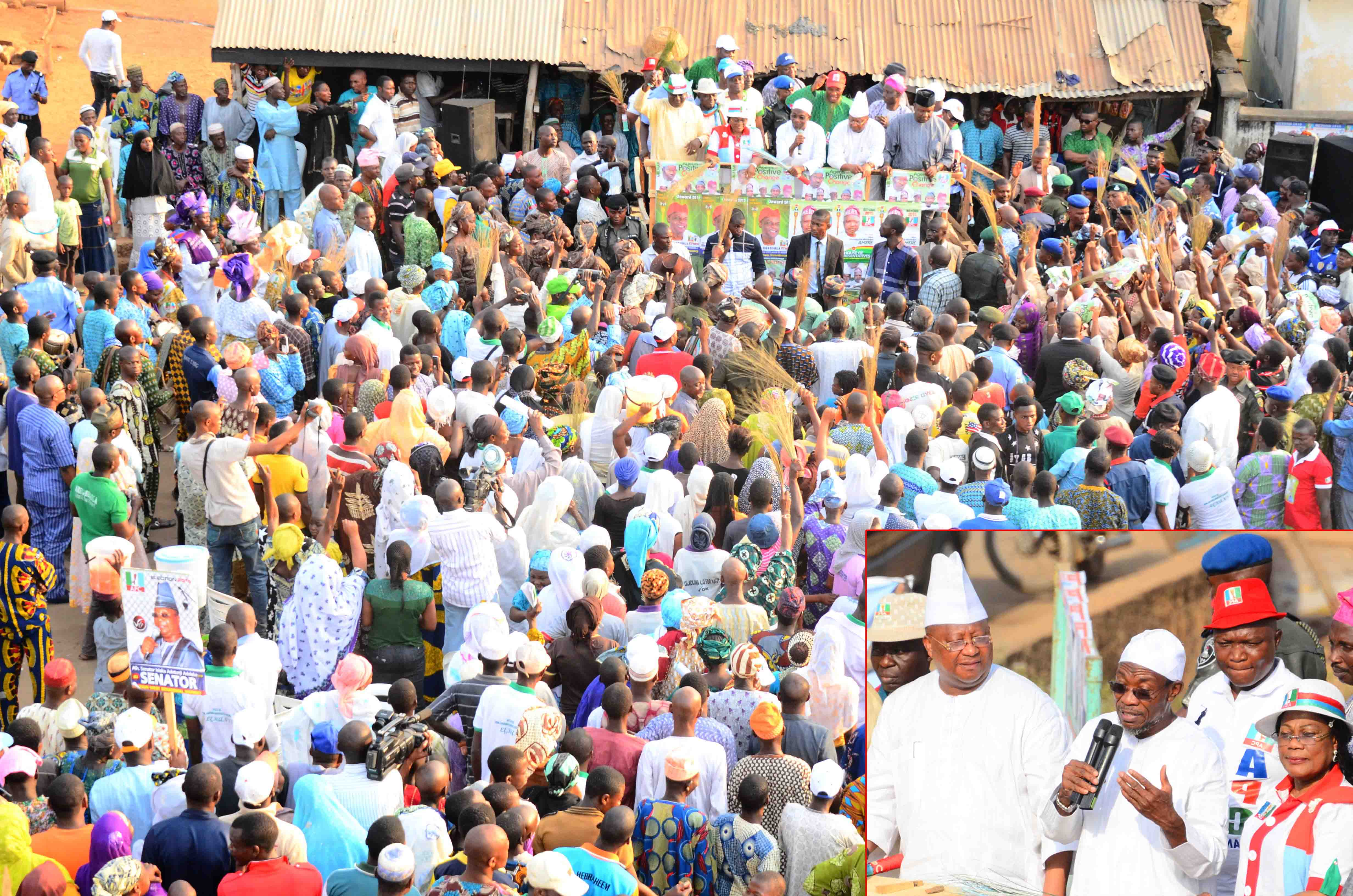 Governor State of Osun, Ogbeni Rauf Aregbesola addressing his Party supporters, at a Campaign Rally for General Muhammadu Buhari and National Assembly aspirants in Osun West Senatorial District at Ile-Ogbo. Insert: From left, Senatorial Aspirant, Osun West Senatorial District, Senator Isiaka Adeleke; Governor Rauf Aregbesola; his Deputy, Mrs Titi Laoye-Tomori and others, during the weekend