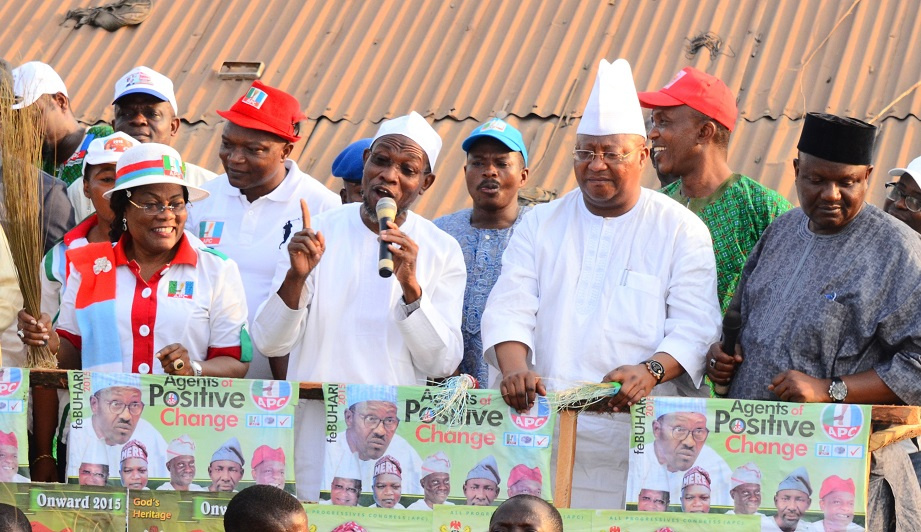From left, Deputy Governor State of Osun, Mrs Titi Laoye-Tomori; Governor Rauf Aregbesola; Senatorial Aspirant, Osun West Senatorial District, Senator Isiaka Adeleke; All Progressives Congress (APC) State Chairman, Prince Gboyega Famodun and others, at a Campaign Rally for General Muhammadu Buhari and National Assembly aspirants in Osun West Senatorial District at Ile-Ogbo, State of Osun, during the weekend