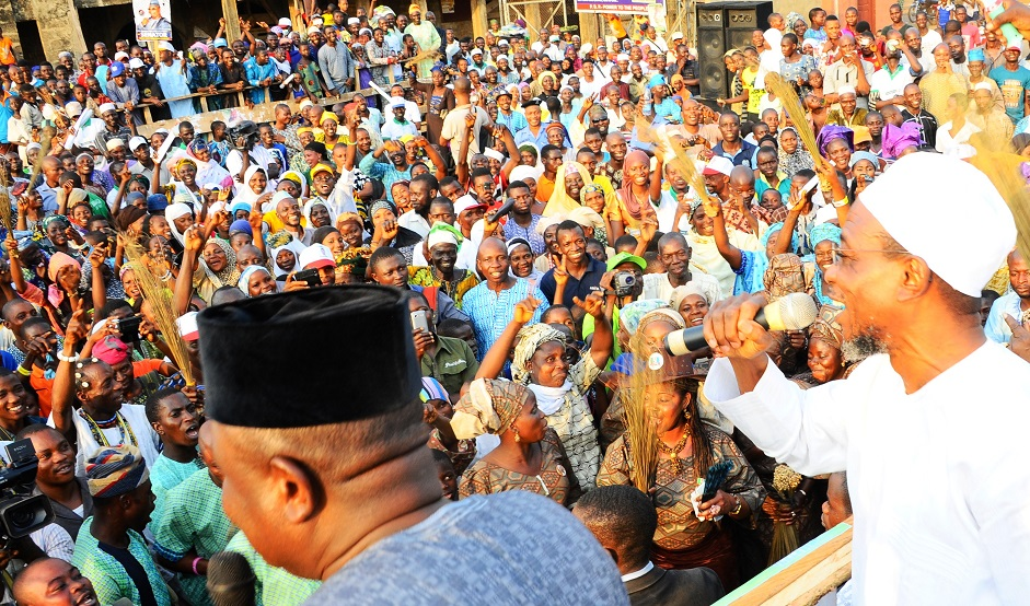 Governor State of Osun, Ogbeni Rauf Aregbesola addressing Party supporters, during a Campaign Rally for General Muhammadu Buhari and National Assembly aspirants in Osun West Senatorial District at Ile-Ogbo, State of Osun, during the weekend