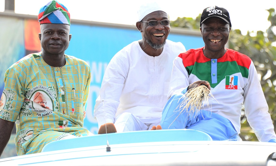 Governor State of Osun, Ogbeni Rauf Aregbeola [middle], lagos State Organizing Secretary All   Progressive Congress [APC], Alhaji Abdullahi Enilolobo [left] and Lagos State House of Assemble Member Alimosho Constituency, Hon. Bisi Yusuff [right], during APC Governorship Candidate Mega Rally, Akinwunmi Ambode at Alimosho Local Government Lagos State on Monday 9/2/2015.