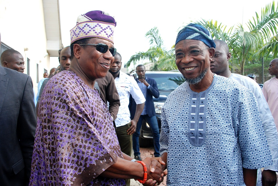 Governor State of Osun, Ogbeni Rauf Aregbesola (right) with Celebrant/Former Chief of Defence Staff, Air Chief Marshal Oluseyi Petinrin, during his 60th Birthday Party in his home town, Ipetu-Ijesa, State of Osun on Sunday 15-02-2015