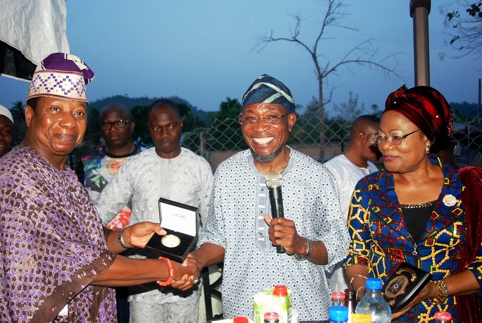 Governor State of Osun, Ogbeni Rauf Aregbesola (middle); his Deputy, Mrs Titi Laoye-Tomori (right) and Celebrant/Former Chief of Defence Staff, Air Chief Marshal Oluseyi Petinrin (left), during his 60th Birthday Party in his home town, Ipetu-Ijesa, State of Osun on Sunday 15-02-2015