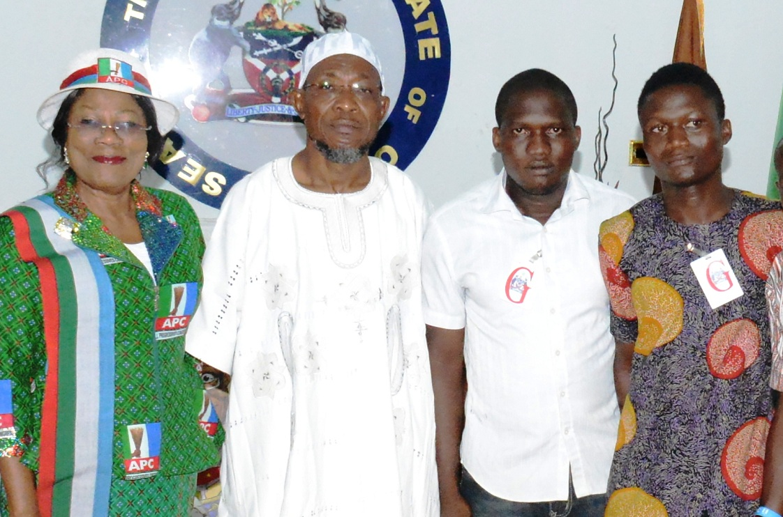 Governor State of Osun and South West Coordinator APC Presidential Campaign, Ogbeni Rauf Aregbesola; his Deputy, Mrs Titi Laoye-Tomori; President, National Association of Osun State Students ((NAOSS), Offa Poly Chapter, Mr. Akintunde Maruf (2nd right) and Secretary General, National Association of Polytechnic Students, Mr Seriki Ibrahim Olawale, during a visit to declare support for Gen. Muhammadu Buhari presidency, at Government House in Osogbo on Tuesday 03-02-2014