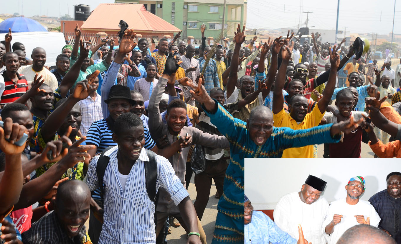 Resident of Osogbo, State of Osun capital jubilating after Justice Elizabeth Ikpejime led Tribunal panel dismisses Omisore's petition in Osogbo, State of Osun. Insert: Governor State of Osun, Ogbeni Rauf Aregbesola (2nd right); APC Chairman, Prince Gboyega Famodun (2nd left) and Former Lagos State Commissioner, Senator Tokunbo Afikuyomi on Friday 06-02-2015