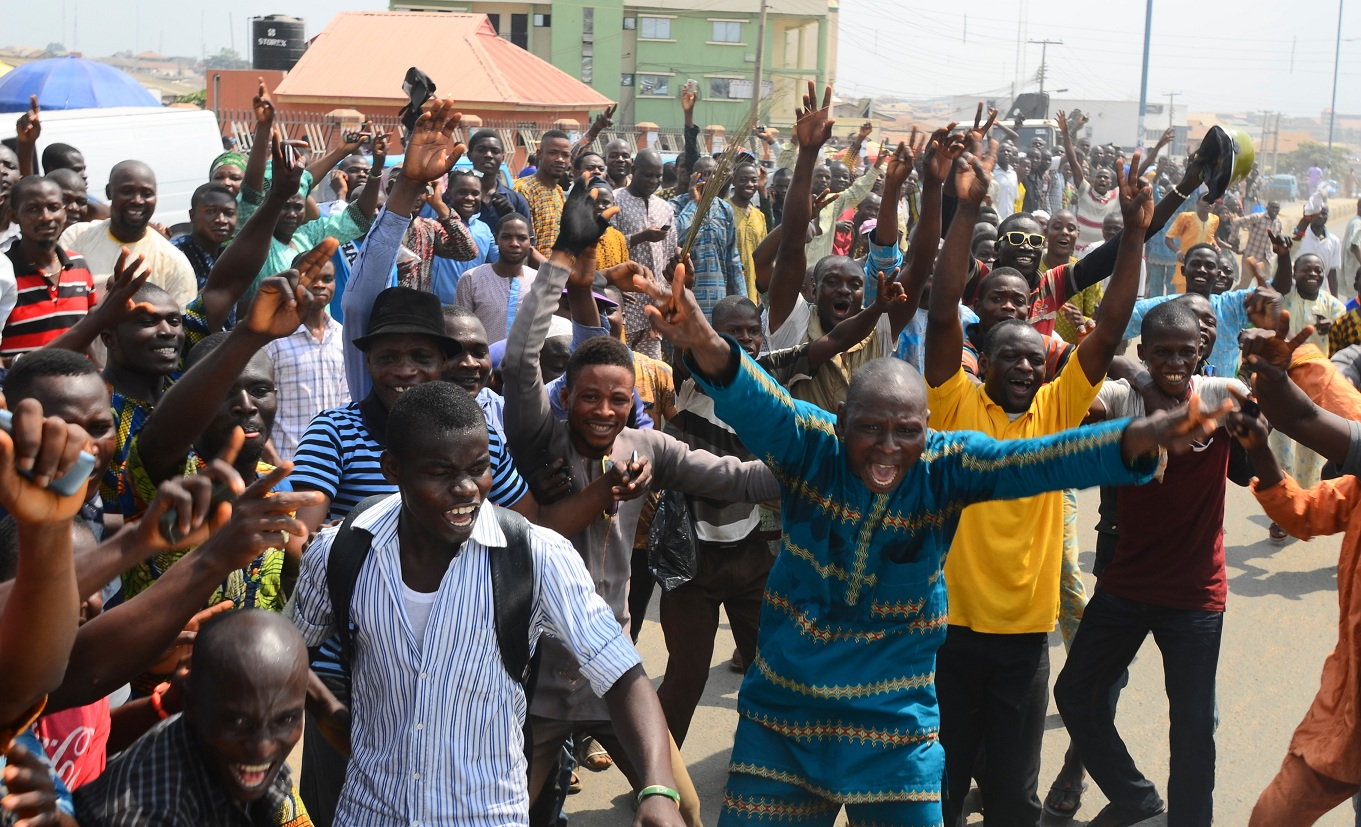 Resident of Osogbo, State of Osun capital jubilating after Justice Elizabeth Ikpejime led Tribunal panel dismisses Omisore's petition in Osogbo, State of Osun on Friday 06-02-2015