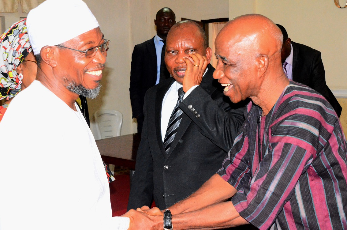 From left, Governor State of Osun, Ogbeni Rauf Aregbesola; Chairman, Five-man Visitation Panel into the crisis at Osun State University (UNIOSUN), Professor Adebisi Daramola and a member of the panel, Professor Omotoye Olorode, during the Panel's Inauguration at the Governor's Office, Osogbo, State of Osun