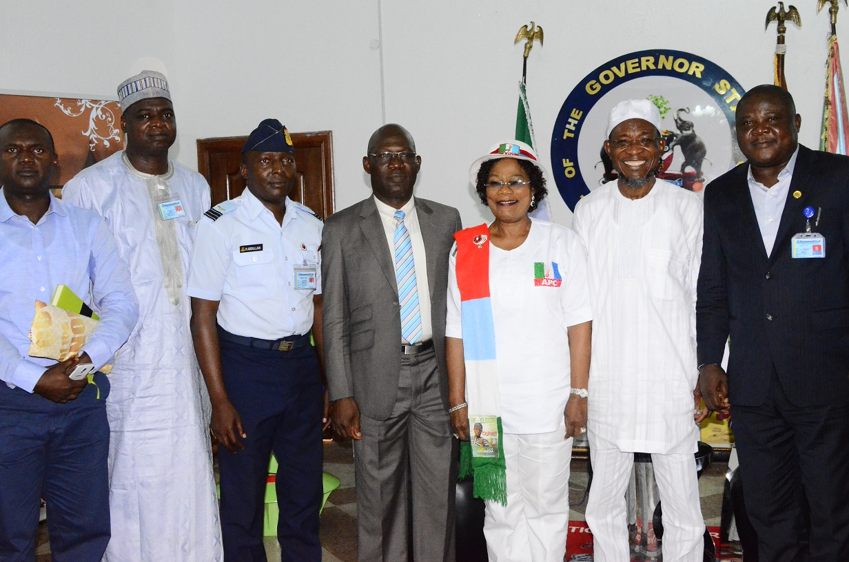 Governor State of Osun, Ogbeni Rauf Aregbesola (2nd right); his Deputy, Mrs. Titi Laoye Tomori ( 3rd left); the Outgoing Managing Director of the State Aeronautic Engineering Technical System Limited (AETSL), Air Vice Marshal Andy Tsakri (middle); the Newly Posted Managing Director of the State Aeronautic Engineering Technical System Limited (AETSL), Air Vice Marshal Ajibola Jekennu (right);Project Manager of (AETSL), Engineer Aminu Sulaiman (left); Project Director of (AETSL), Barrister  Idris Mohammed ( 2nd left) and Project Coordinator of (AETSL), Commander Abdu-llahi (3rd left) during the Familiarization Visit to the Governor at Goverent House, Osogbo