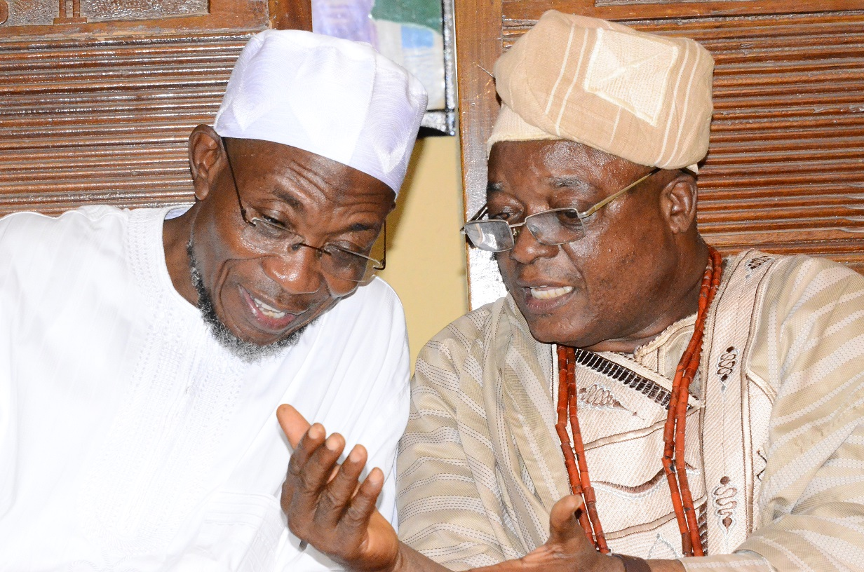 Governor State of Osun, Ogbeni Rauf Aregbesola discussing with the Adimula of Ifewara, Oba Hezekiah Adeniyi Owolola, during the All Progressives Congress (APC) Presidential/ National and State House of Assemblies Electioneering Campaigns to Ifewara, Atakunmosa-West Local Government, State of Osun