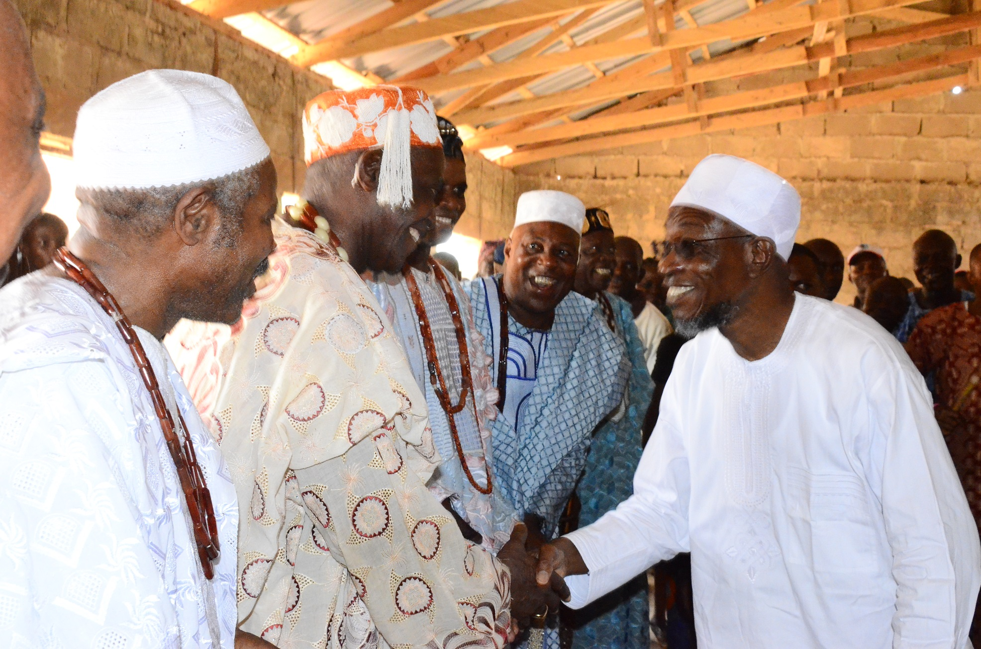 From right- Governor State of Osun, Ogbeni Rauf Aregbesola; Asileyun of Sileyun-Ijesa, Oba Peter Ade- Atayero; Asolo of Isolo-Ijesa, Oba John Ade-Adeyemi and  Olupoye of Ipoye-Ijesa, Oba Joshua Adefioye, during the grassroot Campaign for Presidential, National and State House of Assemblies, at Ilaa-Ijesa, Atakumosa-West Local Government on Monday 09/03/2015.