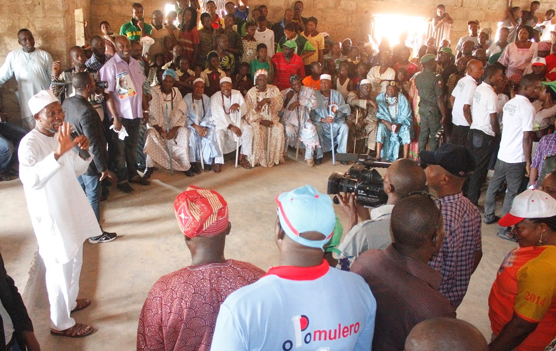 Governor State of Osun, Ogbeni Rauf Aregbesola addressing supporters, during the grassroot Campaign for Presidential, National and State House of Assemblies, at Ilaa-Ijesa, Atakumosa-West Local Government on Monday 09/03/2015.