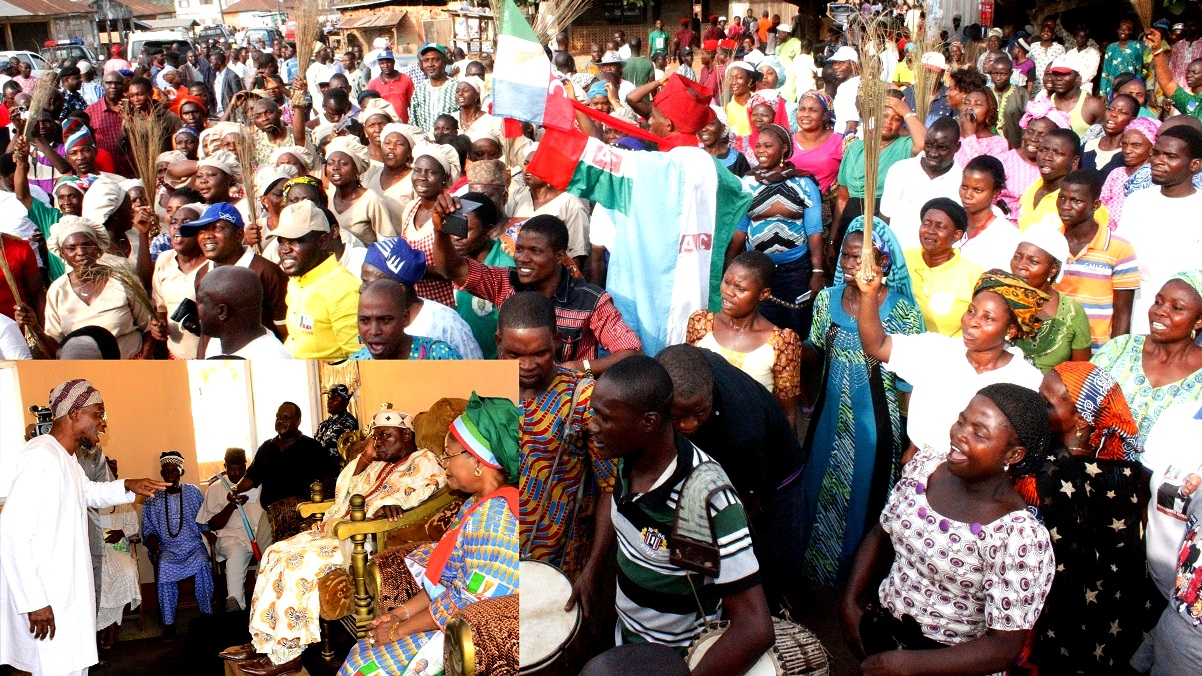 Crowd of All Peoples Congress,(APC), during the Grassroot Campaign Rally for Presidential, National/State House of Assemblies,at Idominasi, Obokun Local Government Area.Insert:Governor Rauf Aregbesola; the Oludo of Idominasi, Oba Folorunso Ademiju Obasanya and Deputy Governor, Mrs. Titi Laoye-Tomori.