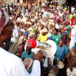 South West Coordinator, Buhari/Osibajo Presidential Campaign, Governor Rauf Aregbesola addressing the ecstatic supporters of the All Progressives Congress (APC) during the a Door to Door/Grassroot campaign Rally for Presidential/National and State House of Assemblies, at Ilase-Ijesa, Obokun Local Government Area