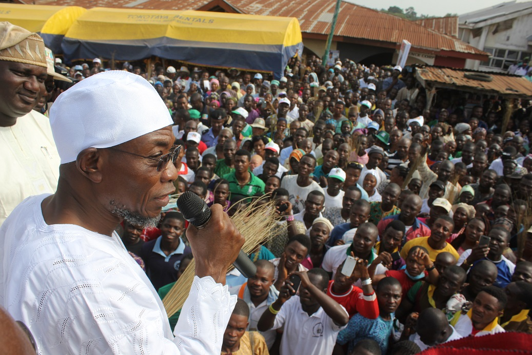 South-west Coordinator, Buhari/Osibajo Presidential Campaign, Governor Rauf Aregbesola addressing party loyalists,during the Presidential/National and State House of Assemblies Campaigns Rally at Owena-Ijesa, Oriade Local Government Area, on Thursday 12/03/2015.