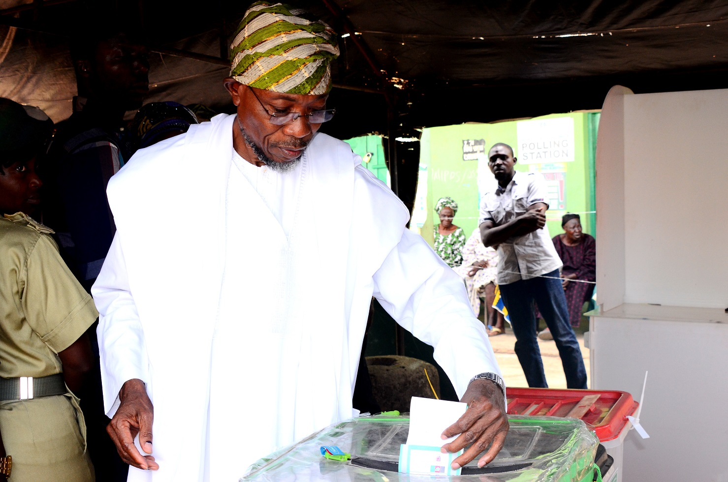 South west ccordinator, Buhari/Osibajo Presidential Campaign, Governor Rauf Aregbesola casting his vote at  Unit 4, Ward 8, Ifofin, Ilesa East Local Government Area, State of Osun, during the Presidential and National Assemblies Elections,on Saturday, 28/03/2015.