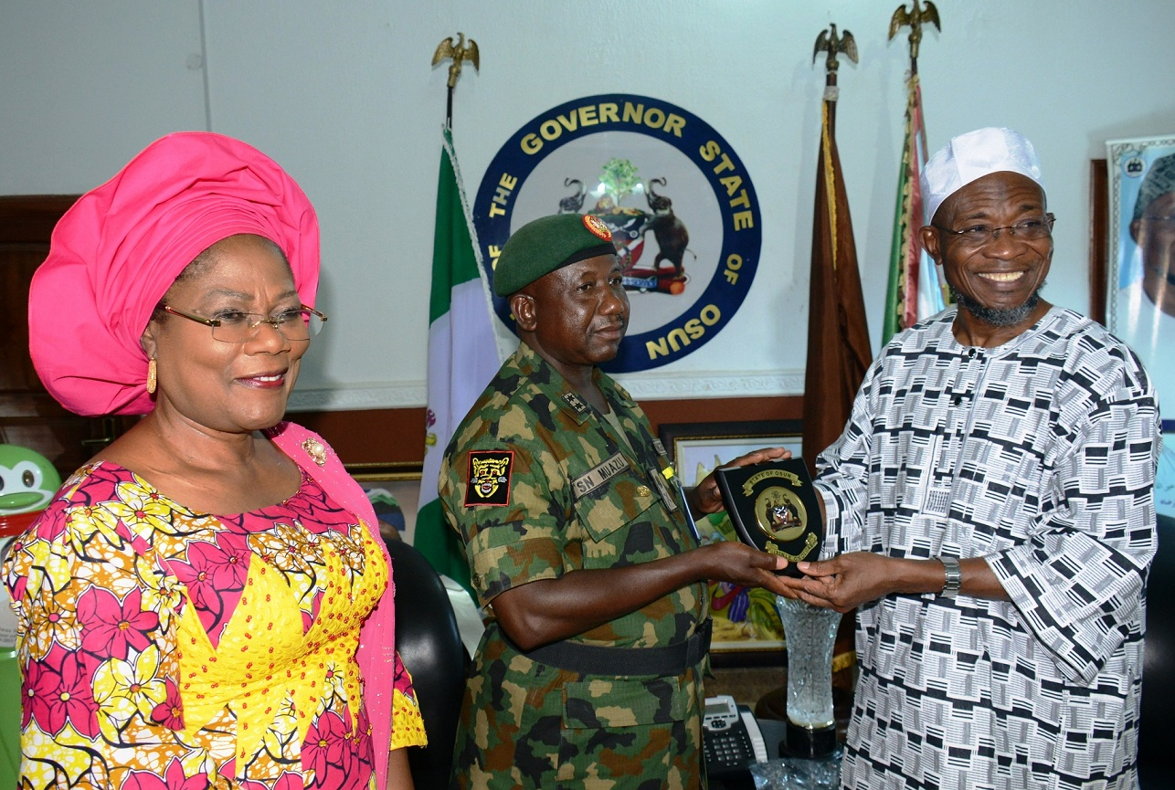 Governor State of Osun, Ogbeni Rauf Aregbesola; General Officer Commanding of the 2nd Mechanise Division of Nigeria Army, Ibadan, Major General Sanisi Nasir Muazu, and Deputy Governor, Mrs Titi Laoye-Tomori, during the GOC working visit to the Governor in Osogbo, State of Osun on Monday 02-03-2015
