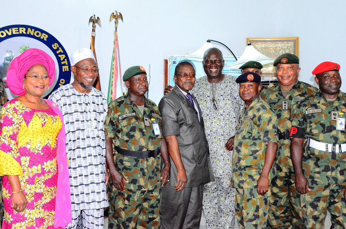 From left, Deputy Governor, State of Osun, Mts Titi Laoye-Tomori; Governor Rauf Aregbesola,; General Officer Commanding of the 2nd Mechanise Division of Nigeria Army, Ibadan, Major General Sanisi Nasir Muazu; Head of service, Mr Sunday Owoeye; Executive Secretary, Odo-Otin Local Government, Mr. Tope Adejumo;  Col.FJN Uwabujo; Deputy Chief of Staff Administration, ColJude Chukwuemeka Ogbona and AH Ibrahim, during GOC working visit to the Governor in Osogbo, State of Osun on Monday 02-03-2015